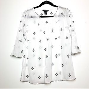 White House Black Market Sheer Embroidered Blouse